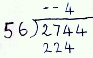 showing division, first part of dividing 2744 by 56